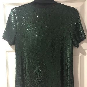 Tory Burch Tops - Tory Burch top dark green sequins sparkly w/bow M